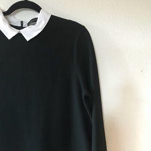 Zara Black Mini Shift Dress with White Collar